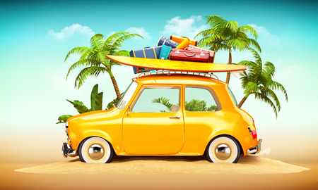 trip travel: Funny retro car with surfboard and suitcases on a beach with palms behind. Unusual summer travel illustration