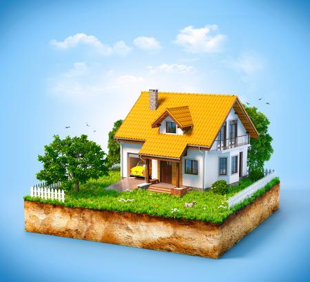 Maison blanche sur un morceau de terre avec jardin et des arbres.