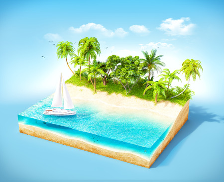 cross section of tree: Piece of tropical island with water and palms on a beach in cross section.  Unusual travel illustration Stock Photo