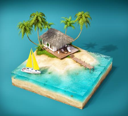 Pezzo di isola tropicale con acqua, palme e bungalow su una spiaggia in sezione trasversale. Insolito illustrazione di viaggio Archivio Fotografico - 38072945