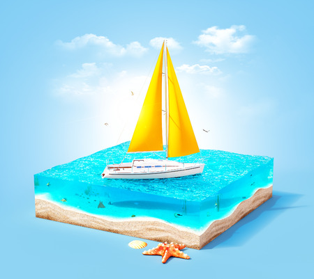 Piece of tropical island with luxury white yacht in ocean in cross section.  Unusual travel illustration