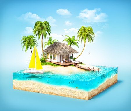 art piece: Piece of tropical island with water, palms and bungalow on a beach in cross section.  Unusual travel illustration