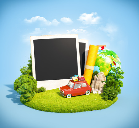 Empty photos, retro car and traveling equipment on a green meadow. Camping. photo