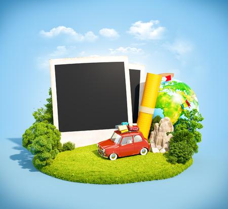 Fotos vacías, coche retro y equipo de viaje en un prado verde. Acampar.