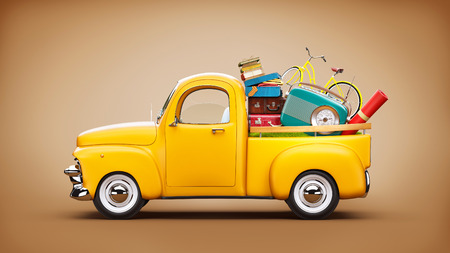 out in town: Pickup truck with suitcases, radio and bicycle in the trunk. Unusual travel illustration
