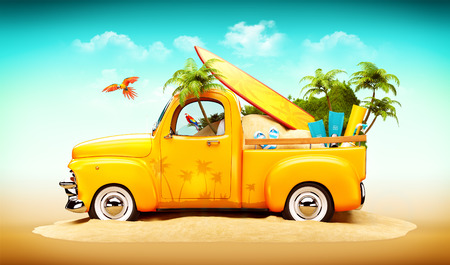 beach mat: Pickup truck with sand, surf and palms in the trunk. Unusual travel illustration