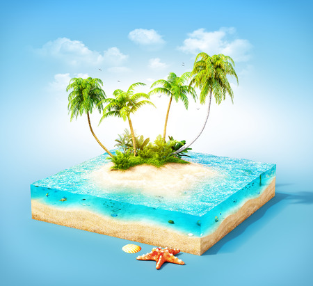 island: Piece of tropical island with water and palms on a beach in cross section.  Unusual travel illustration Stock Photo