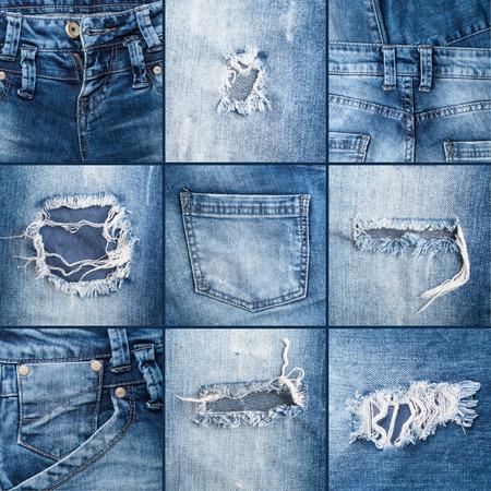 Satz von Texturen zerrissenen Jeans