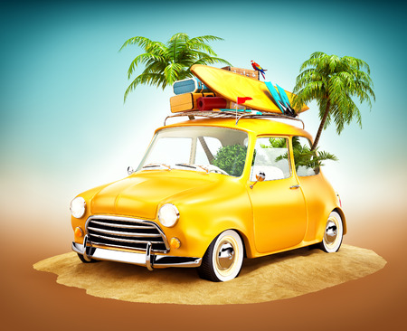 Funny retro car with surfboard and suitcases on a beach with palms. Unusual summer travel illustration Standard-Bild
