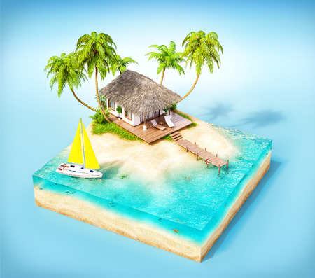 bungalow: Piece of tropical island with water, palms and bungalow on a beach in cross section.  Unusual travel illustration