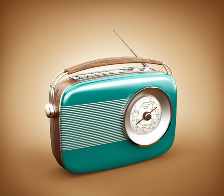 vintage backgrounds: Vintage radio on brown background Stock Photo