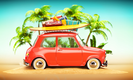 happy summer: Funny retro car with surfboard and suitcases on a beach with palms behind. Unusual summer travel illustration