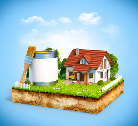 paint can: White house and  paint can with brush on a piece of earth with garden and trees. Unusual illustration