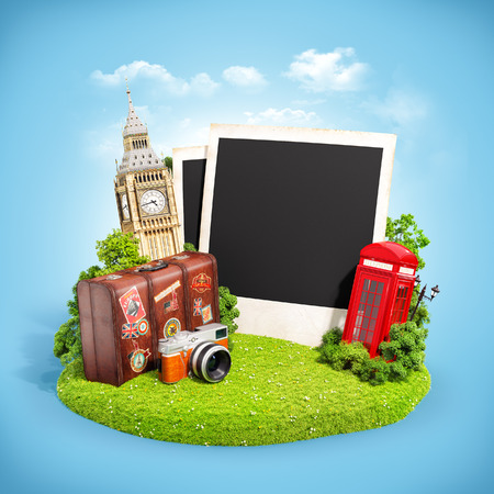 Empty photos with London famous monuments on grass field. Unusual illustration