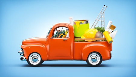 architector: Pickup truck with construction equipment in the trunk. Unusual travel illustration Stock Photo