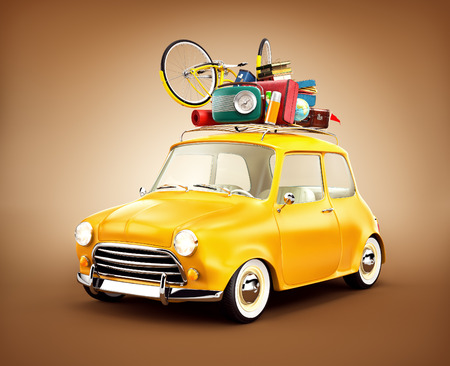 Retro car with luggage. Unusual  travel illustration Stock Photo