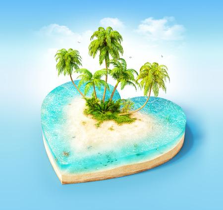 Stuk van tropisch eiland met water en palmen op een strand in dwarsdoorsnede in de vorm van hart. Ongewone reizen illustratie Stockfoto