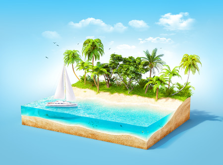 creative design: Piece of tropical island with water and palms on a beach in cross section.  Unusual travel illustration Stock Photo