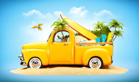 Pickup truck with sand, surf and palms in the trunk. Unusual travel illustration