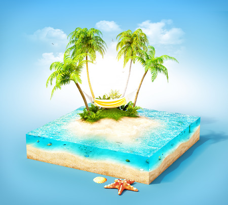 hammock: Piece of tropical island with water palms and hammock on a beach in cross section. Unusual travel illustration Stock Photo