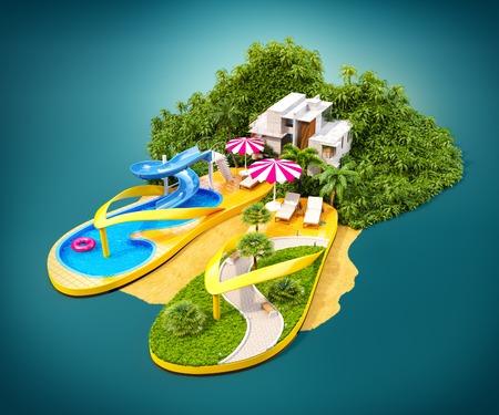 vacaciones en la playa: Resort tropical en chanclas. Ilustración inusual de vacaciones.