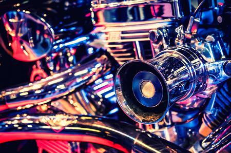 cromo: Foto del primer del motor de la motocicleta Foto de archivo