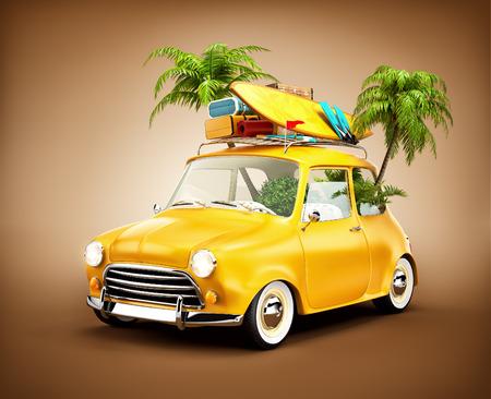 Grappig retro auto met surfplank, koffers en palmen. Ongebruikelijke zomer reizen illustratie