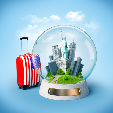 snow ball: Statue of Liberty and buildings in the glass ball. Unusual travel illustration. USA