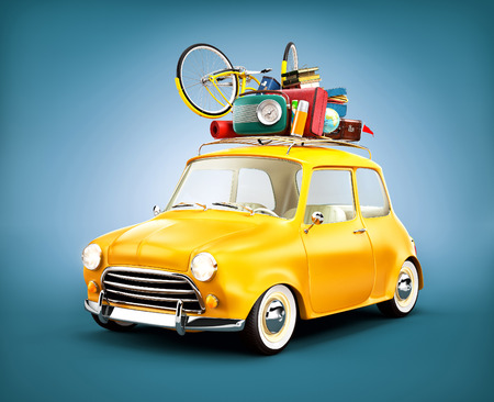 trips: Retro car with luggage. Unusual  travel illustration Stock Photo