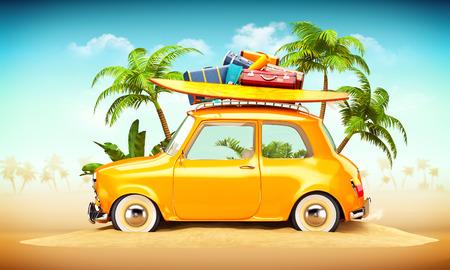 Coche retro divertido con la tabla de surf y maletas en una playa con palmeras detrás. Ilustración viajes verano Insólito