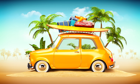 summer holiday: Funny retro car with surfboard and suitcases on a beach with palms behind. Unusual summer travel illustration