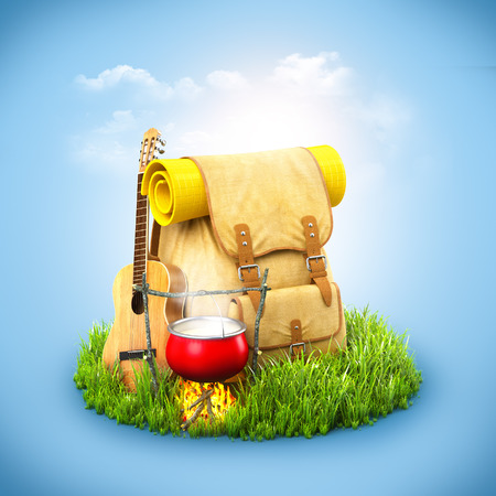 backpack: Backpack with giutar and Campfire on grass at blue background. Unusual travel background