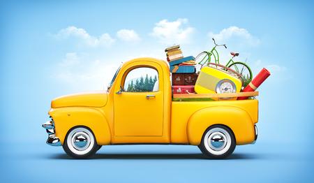 dream car: Camioneta con maletas, la radio y la bicicleta en el maletero. Ilustración de viaje inusual