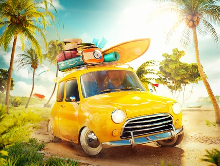 holiday trip: Funny retro car with surfboard and suitcases on a beach with palms. Unusual summer travel illustration Stock Photo