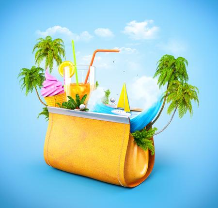 Tropische Palmen und Meereswellen in geöffneter Damenhandtasche. Ungewöhnliche Reiseillustration.