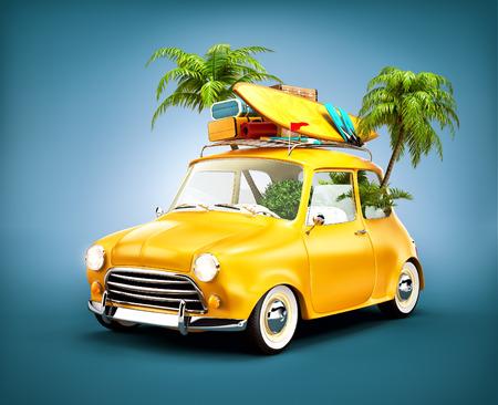 Coche retro divertido con la tabla de surf, maletas y palmas. Ilustración viajes verano Insólito