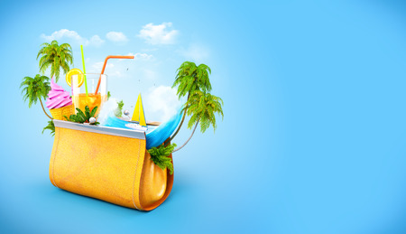 seashore: Tropical palms and ocean wave in opened womens casual purse. Unusual travel illustration.