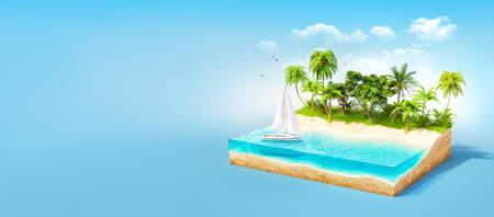 Piece of tropical island with water and palms on a beach in cross section.  Unusual travel illustration Stock Photo