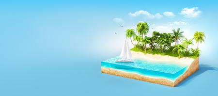 Stuk van tropisch eiland met water en palmen op een strand in doorsnede. Ongewone reizen illustratie Stockfoto
