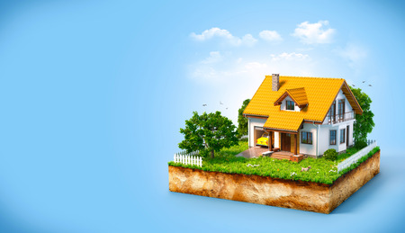 happy house: White house on a piece of earth with garden and trees. Stock Photo