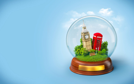 travel phone: Big Ben and red phone box in the glass ball. Unusual travel illustration. London