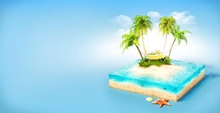 Stuk van tropisch eiland met water, palmen en hangmat op een strand in doorsnede. Ongebruikelijke reizen illustratie