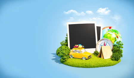 family vacation: Empty photos, retro car and traveling equipment on a green meadow. Camping.