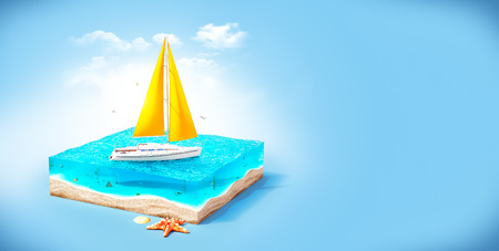luxury yacht: Piece of tropical island with luxury white yacht in ocean in cross section.  Unusual travel illustration