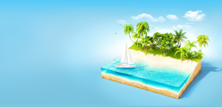 lagoon: Piece of tropical island with water and palms on a beach in cross section.  Unusual travel illustration Stock Photo