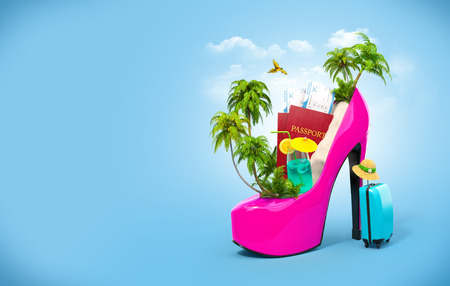 Tropical island in the women's shoe. Unusual travel illustration 免版税图像