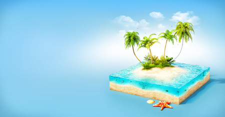 Piece of tropical island with water and palms on a beach in cross section.  Unusual travel illustration 免版税图像