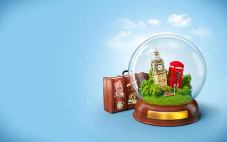 tourism: Big Ben and red phone box in the glass ball. Unusual travel illustration. London