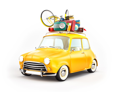 Retro car with luggage. Unusual  travel illustration Standard-Bild