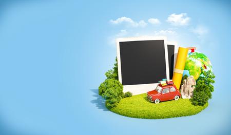 Leere Fotos, Retro-Auto und Reisen Ausrüstung auf einer grünen Wiese. Camping. Standard-Bild - 43371111